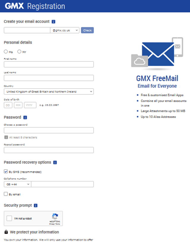 Sign up gmx Mail app: